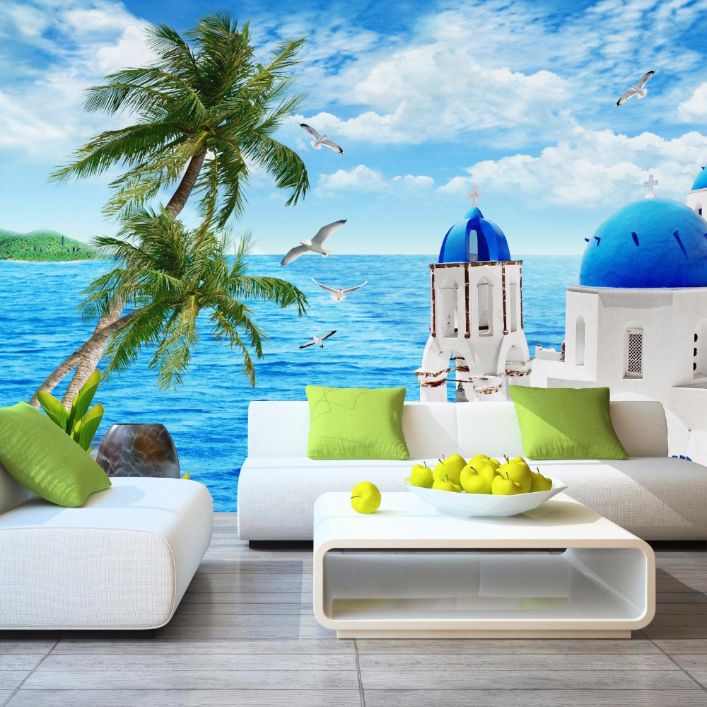Mediterranean Sea View Castle Photo Wallpaper Modern Simple Nature Landscape Fresco Living Room TV Sofa Backdrop Wall Home Decor