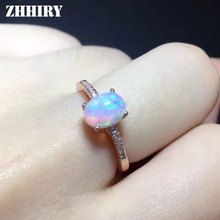цена ZHHIRY Genuine Natural Fire Opal Ring Solid 925 Sterling Silver For Women Colour Gem Stone Rings Fine Jewelry онлайн в 2017 году