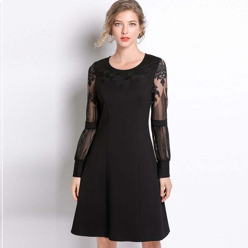 2019New printemps noir robe grande taille dentelle patchwork a-ligne robe à manches longues femme travail robe élégante décontracté vestidos L-5XL 4XL