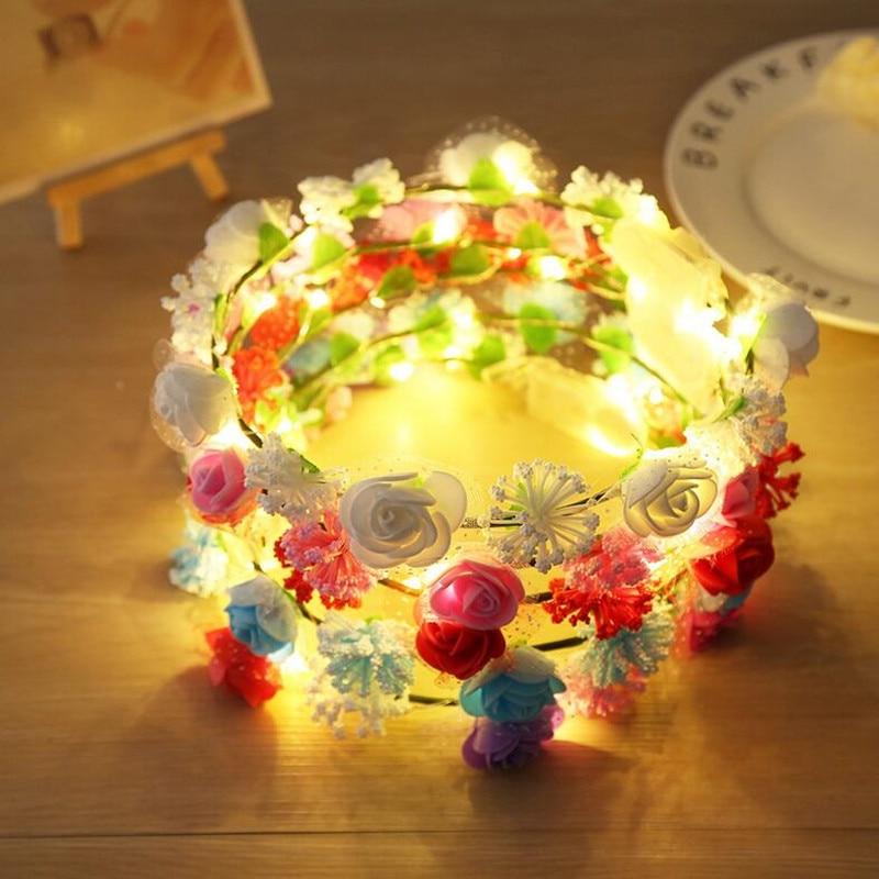 2018 New Women Girls LED Flashing Flower Headband Blinking Floral Garland Wreath Headwear Halloween Glow Party Supplies