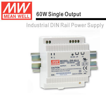 DR-60 Genuine Mean Well DR-60-5121524 60W Single Output Industrial DIN Rail Switching Power Supply Full Range AC Input