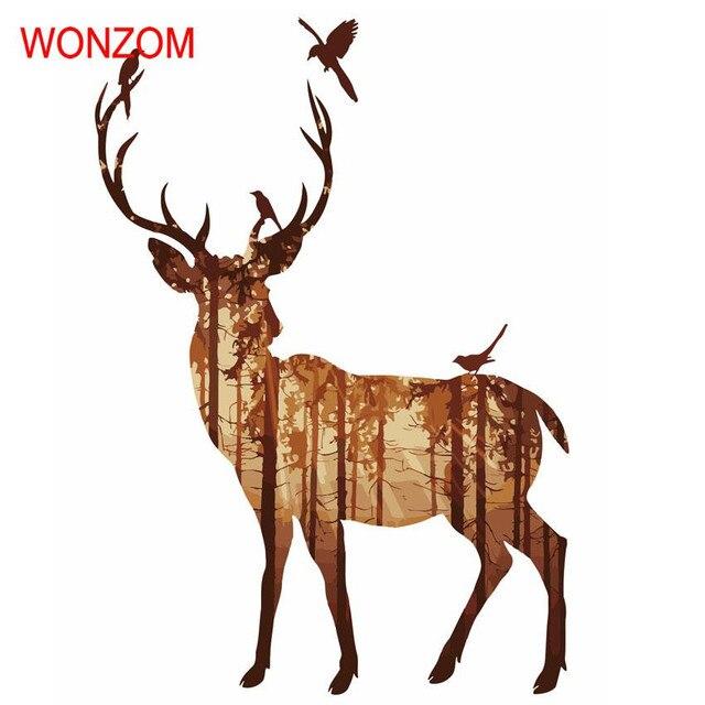 Ciervos pintura por números animal sobre lienzo abstracto colorear ...