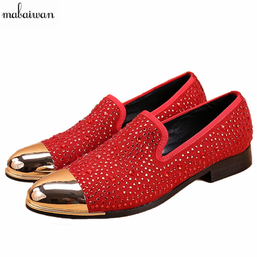 цены Mabaiwan Fashion Rhinestone Flats Men Loafers Wedding Dress Shoes Slip On Casual Shoes Men Creepers Espadrilles Mocassin Homme