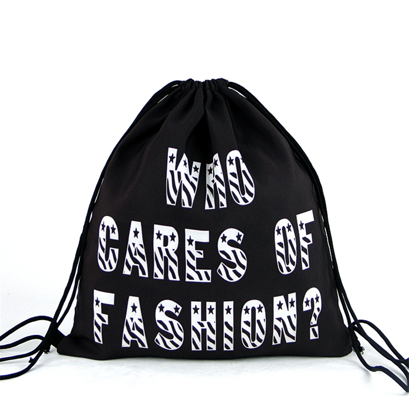 Unisex Women Velour Drawstring Bag Printed Black and White Element ...