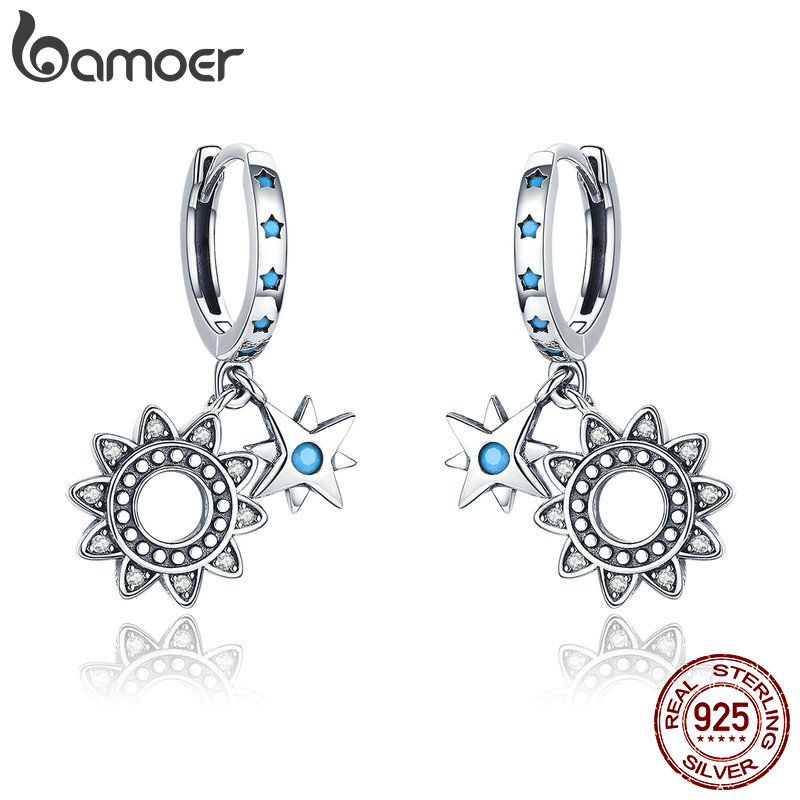 BAMOER Vintage 925 Sterling Silver Sunflower Sparkling Geometric Star Drop Earrings for Women Sterling Silver Jewelry SCE461BAMOER Vintage 925 Sterling Silver Sunflower Sparkling Geometric Star Drop Earrings for Women Sterling Silver Jewelry SCE461