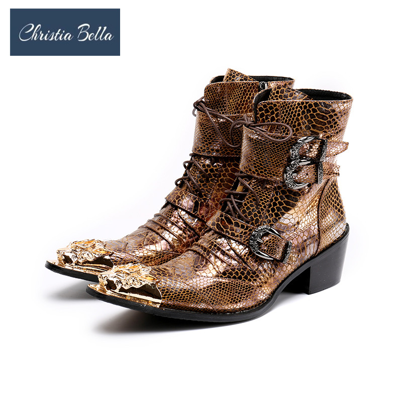 Christia Bella Punk Style Genuine Leather Men Ankle Boots Iron Pointed Toe Mens Military Cowboy Boots High Top Strap Cool Shoes new genuine leather men ankle boots punk style iron pointed toe zip mens military cowboy boots high top buckles botas hombre