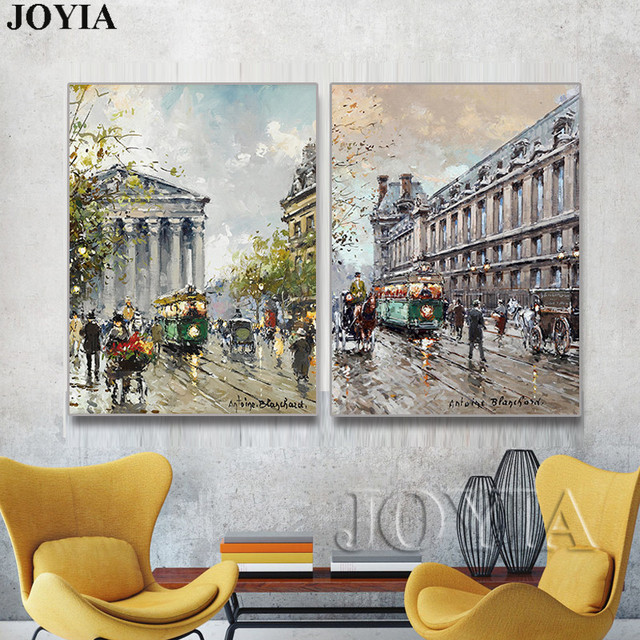 2 Pieces Wall Art Modern Living Room Decor Abstract Paris Street Four  Seasons Oil Painting Print