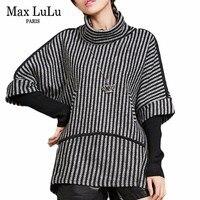 Max LuLu Luxury Korean Brand Office Ladies Knitted Knitwear Womens Turtleneck Sweater Winter Long Pullovers Woman Striped Jumper