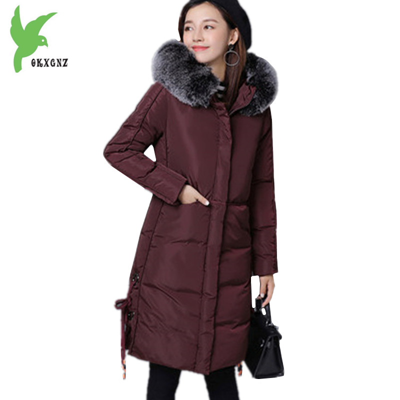 Boutique Women Winter Cotton Jacket Coats Thicker Warm Parkas Plus size Hooded Jackets Medium length Cotton Outerwear OKXGNZ1190 winter women s cotton coats solid color hooded casual tops outerwear plus size thicker keep warm jacket fashion slim okxgnz a712