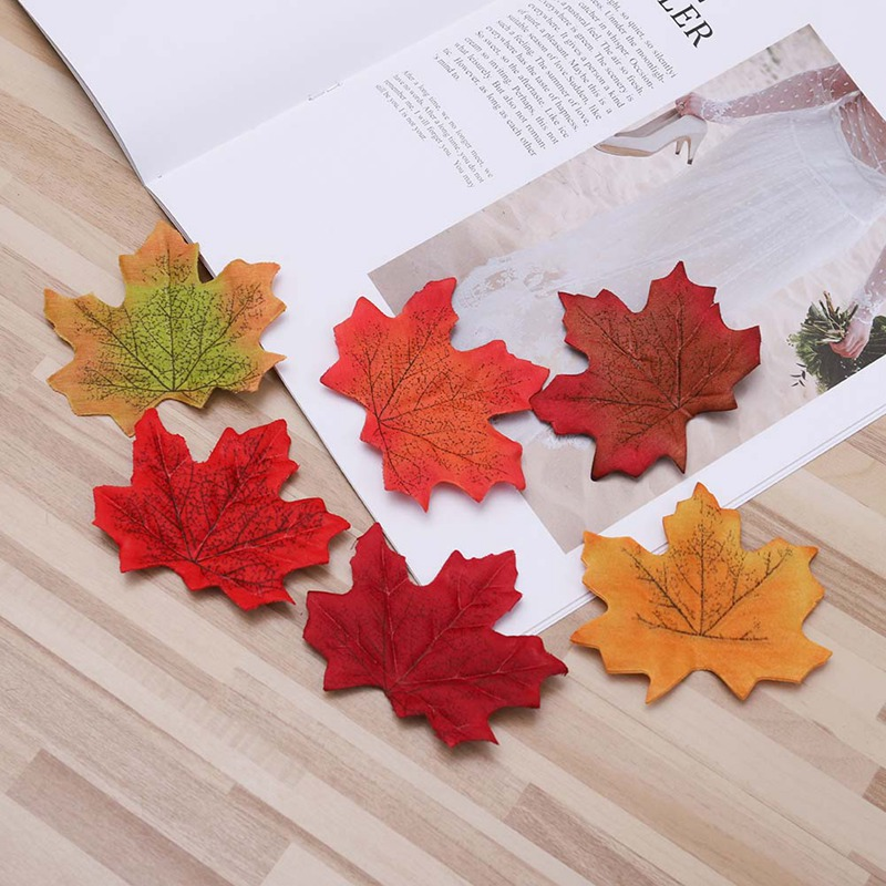(50 PCS/lot) artificial silk 2018 New Arrival family garden party maple leaves decorate 8 x 8 cm