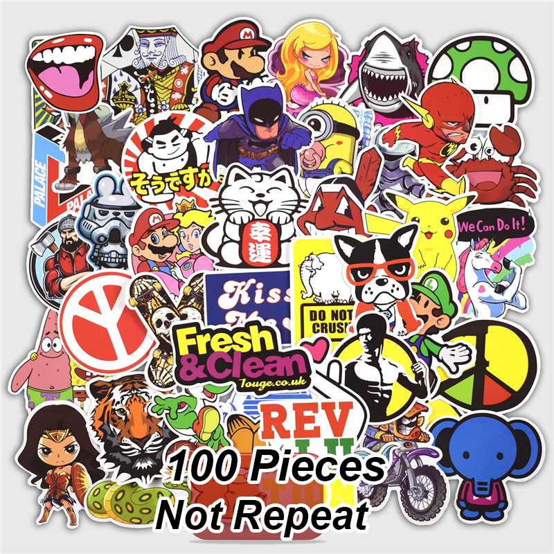 100 Pcs Mixed Graffiti Stickers For Laptop Skateboard Bicycles Luggage Car  Motorcycle Fashion Vinyl Decals Fashion DIY Sticker