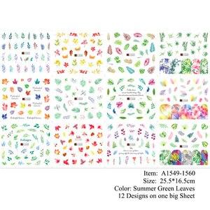 Image 5 - Ensemble de décalcomanies pour ongles, feuilles vertes, transferts à leau, 12 pièces, autocollants de manucure, tatouage, Nail Art, modèles TRA1549 1560