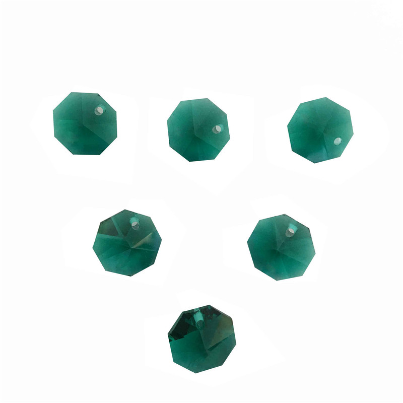 80pcs/lot 14mm Malachite Green Glass Octagon Crystal Beads In One Hole Wedding Chandelier Lamp Beads Christmas Tree Beads Chandelier Crystal Lighting Accessories