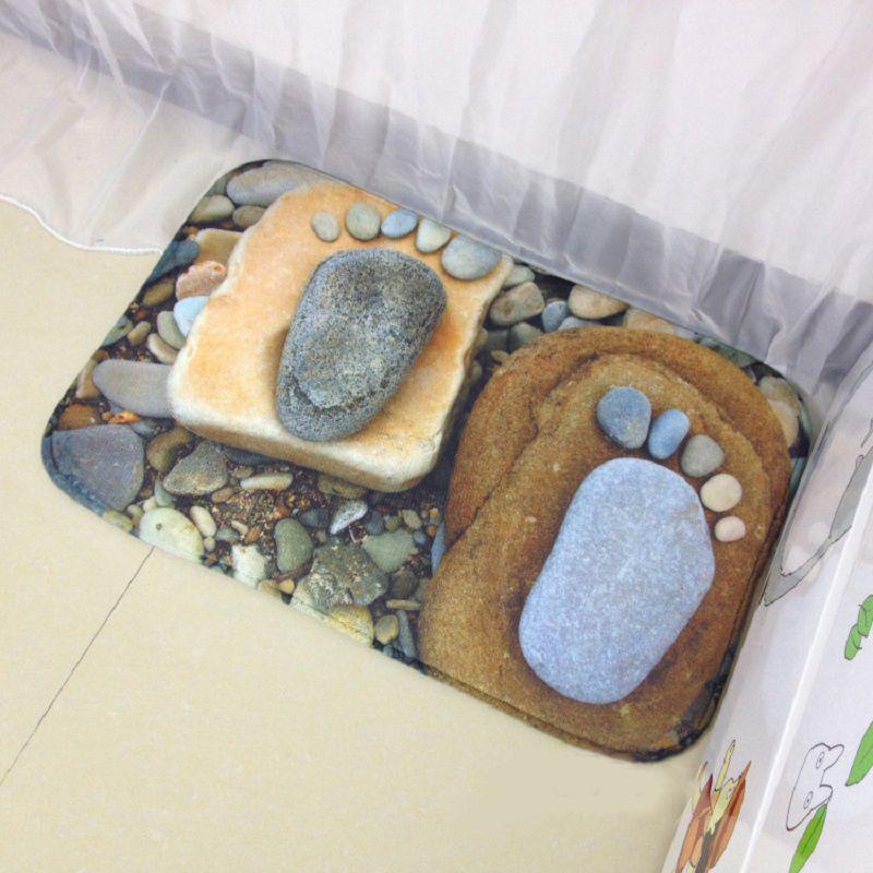 1 Stcke Komfortable 3D Fsse Stein Teppich Weichkorallen Fleece Wohnzimmer Bereich Bett Zimmer Tr Bodenmatte