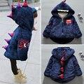 Nova moda da menina do menino da criança do inverno do bebê de algodão acolchoado-algodão-acolchoado jaqueta jaqueta criança criança top além de veludo casaco amassado