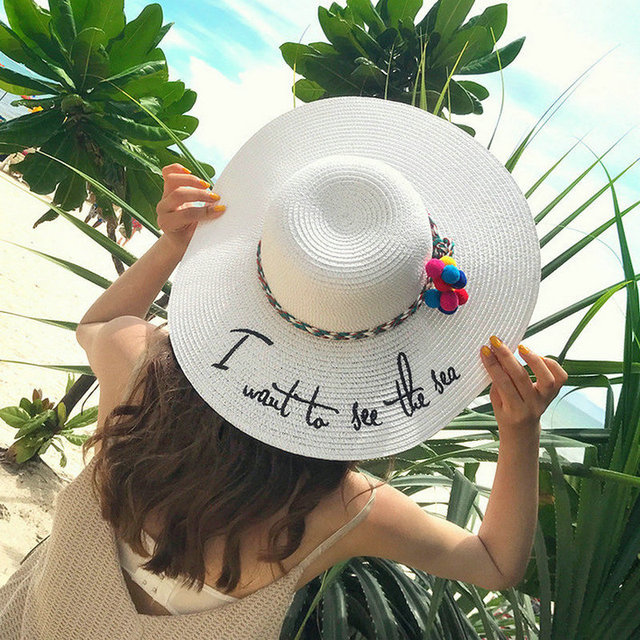 0d506492b34142 2019 Letter Embroidery Cap Big Brim Ladies Summer Colorful Rope Straw Hat  Youth Hats For Women Shade Sun hat Beach Caps Leisure