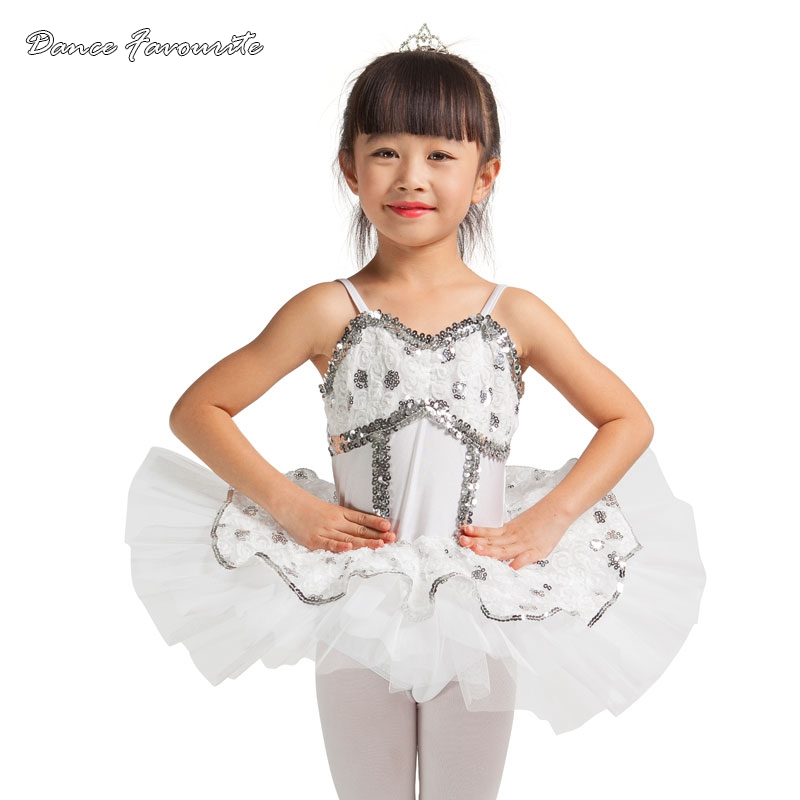 Dance Favourite High quality and nice design White sequin lace ballet tutu Girl Stage Performance Ballet Tutu Ballerina costumes