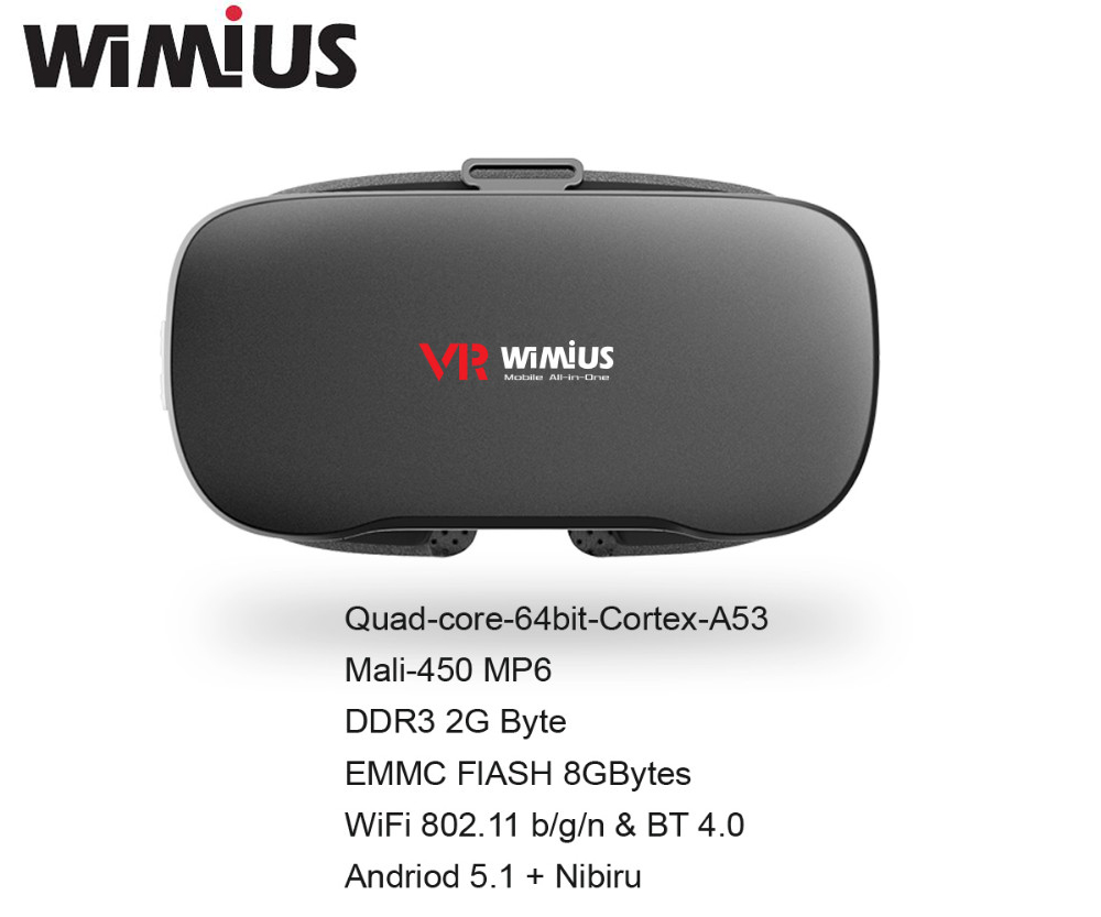 Wimius All In One VR Headset 3D Glasses Virtual Reality Headset FOV 95D Wifi Bluetooth 5