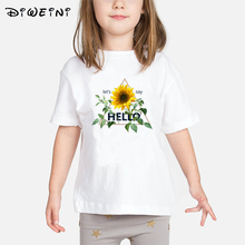 Baby Girls tshirt White Printed Sun Flower T Shirt Short Sleeve Casual Baby girl clothes Kids Summer Casual Fashion T-shirts Top цена