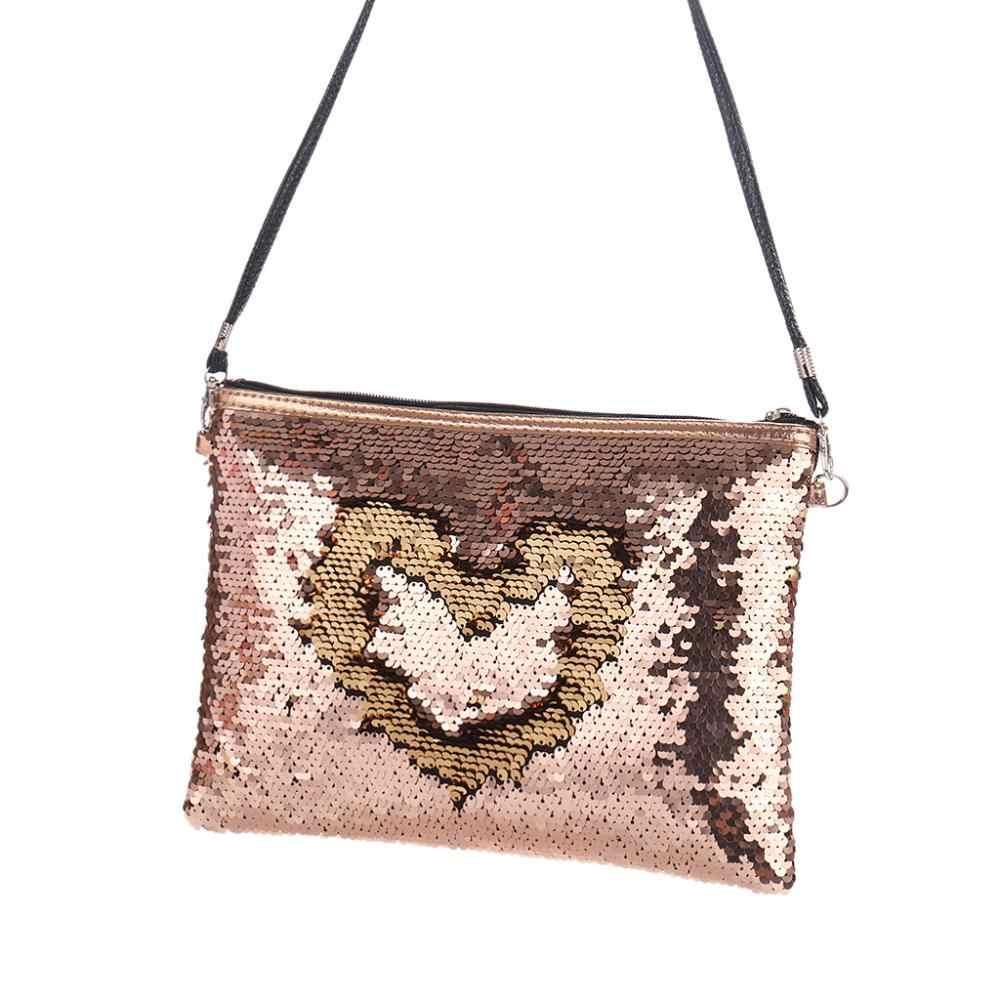 Sanwood Fashion Women Crossbody Shoulder Bag Glitter Reversible Sequins  Lady Small Envelopes Messager Bag Clutch Slim 02da2077ea07