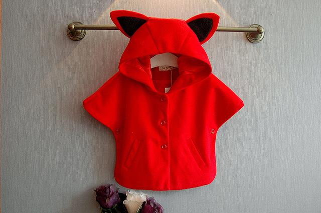 [Bosudhsou.] # j-4 primavera invierno niños bebé niñas chaquetas de la capa de paño de lana capa roja con capucha cabo capas ropa de niños clothing