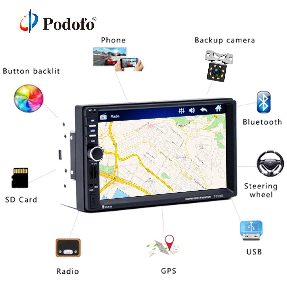 Podofo 2 din Car Multimedia Player + GPS Navigaiton + Câmera Mapa 7 ''HD Touch Screen Bluetooth Autoradio MP3 Jogador MP5 7018G Rádios