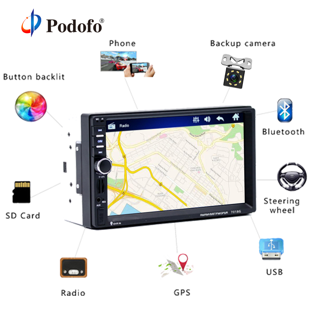 Podofo 2 din Car Multimedia Player+GPS Navigaiton+Camera Map 7'' HD Touch Screen Bluetooth Autoradio MP3 MP5 Player 7018G Radios