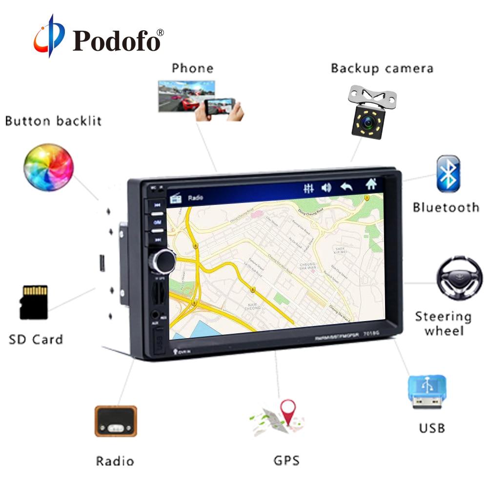 Podofo 2 din Car Multimedia Player + GPS Navigaiton + Macchina Fotografica Mappa 7 '' HD Touch Screen Bluetooth Autoradio MP3 MP5 Giocatore 7018G Radio