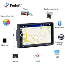 "Podofo 2 din Car Multimedia Player+GPS Navigaiton+Camera Map 7"" HD Touch Screen Bluetooth Autoradio MP3 MP5 Player 7018G Radios"