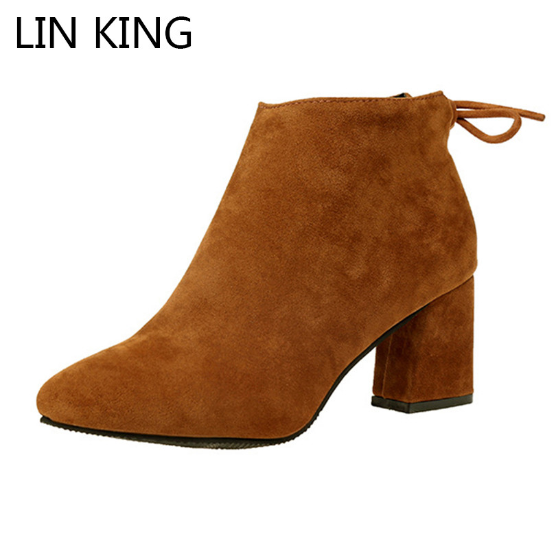 LIN KING Classic Square Heel Women'S Boots Zipper Thick Heel Pointed Toe Short Shoes Solid Office Work Ankle Boots Big Size 45 стиральная машина bomann wa 5716