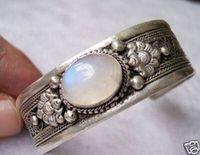 Livraison Gratuite En Gros prix 16new ^ ^ ^ ^ Chine Tibet Argent pierre de lune Blanc manchette Bracelets