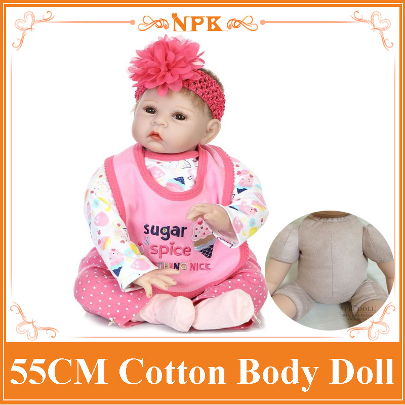 NPK New 55cm 22inch Real Silicone Reborn Dolls With Hat Rooted Hair In Rose Color Clothes Lifelike Reborn Dolls Baby Bonecas new arrived 55 60cm silicone reborn baby dolls fridolin sweet girl real gentle touch rooted human hair with pink dress newyear