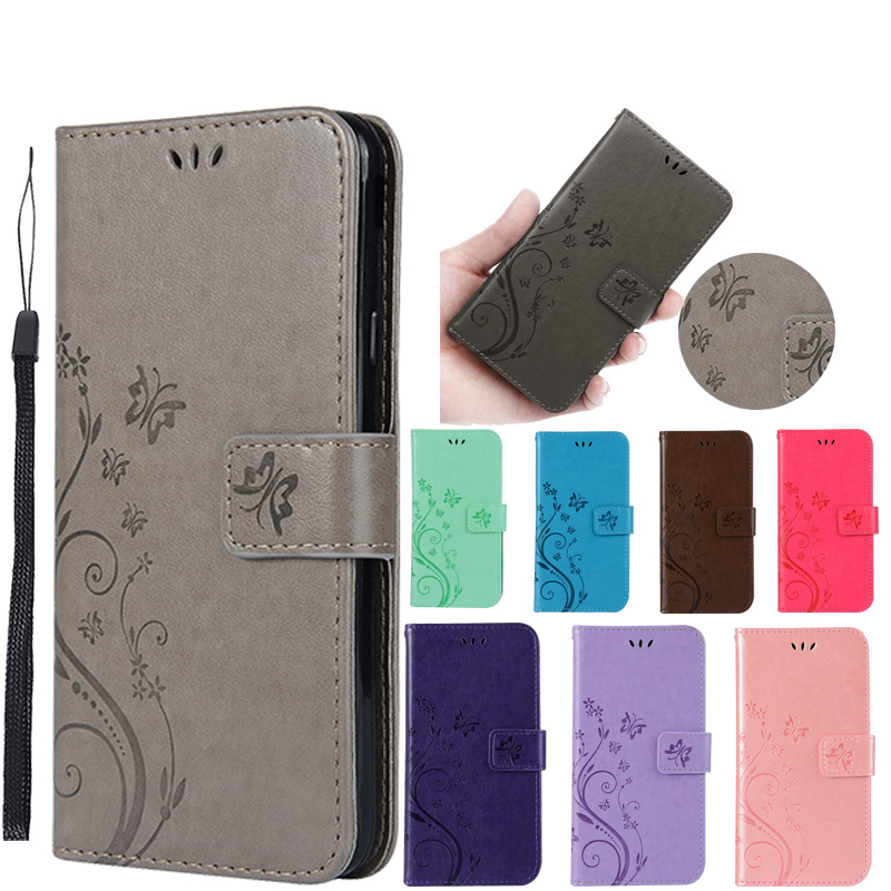 Luxury PU Leather Embossed Butterfly Flip Case Cover on sfor <font><b>Samsung</b></font> A10 A20E A70 A50 A30 <font><b>A20</b></font> A40 S10 5G Wallet Phone Capa Coque image