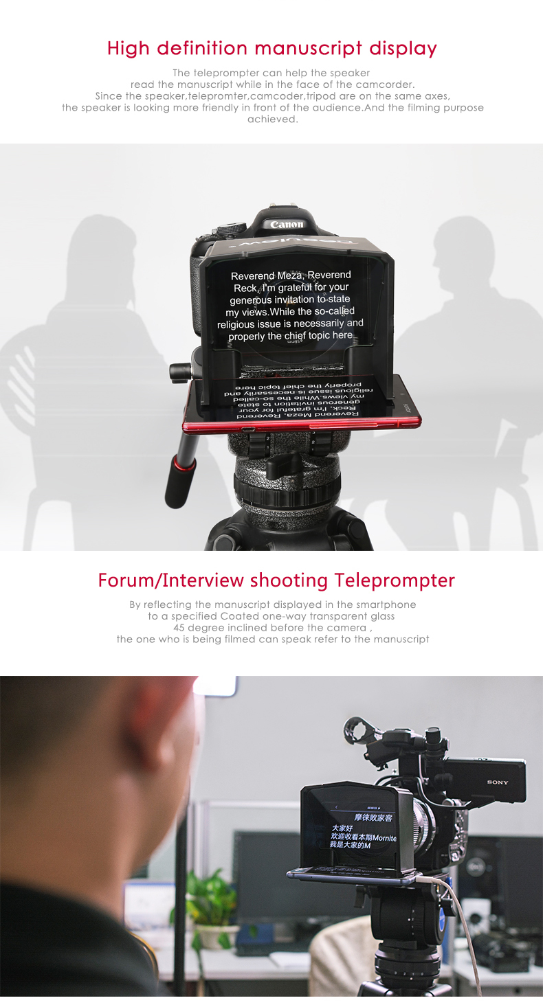 Bestview high-definition smartphone Teleprompter Video DSLR voor Canon Nikon Sony Camera Youtube Photo Studio Interview TVstation