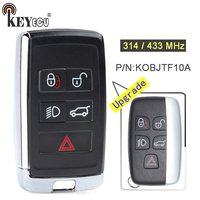 KEYECU 315/ 433MHz FCC: KOBJTF10A Upgraded 4+1 5 Button Remote Key Fob key for Land Rover LR2 LR4, for Range Rover Evoque /Sport