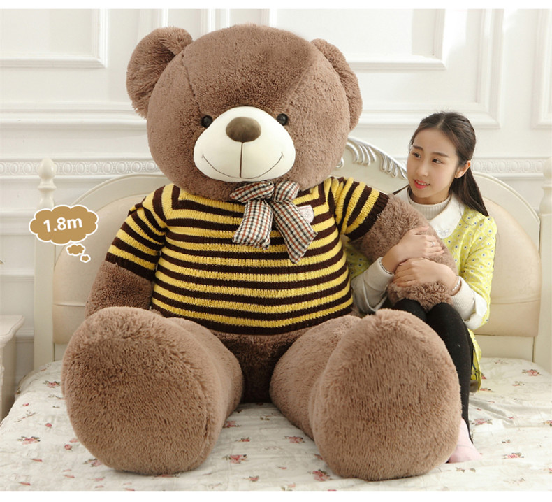 Big plush round eyes big bow tie yellow stripe sweater teddy bear big plush round eyes big bow tie yellow stripe sweater teddy bear toy huge bear doll gift about 160cm in cushion from home garden on aliexpress publicscrutiny Gallery