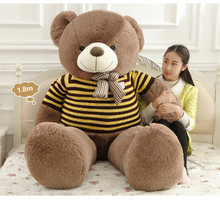 big plush round eyes big bow tie yellow stripe sweater teddy bear toy huge  bear doll gift about 160cm