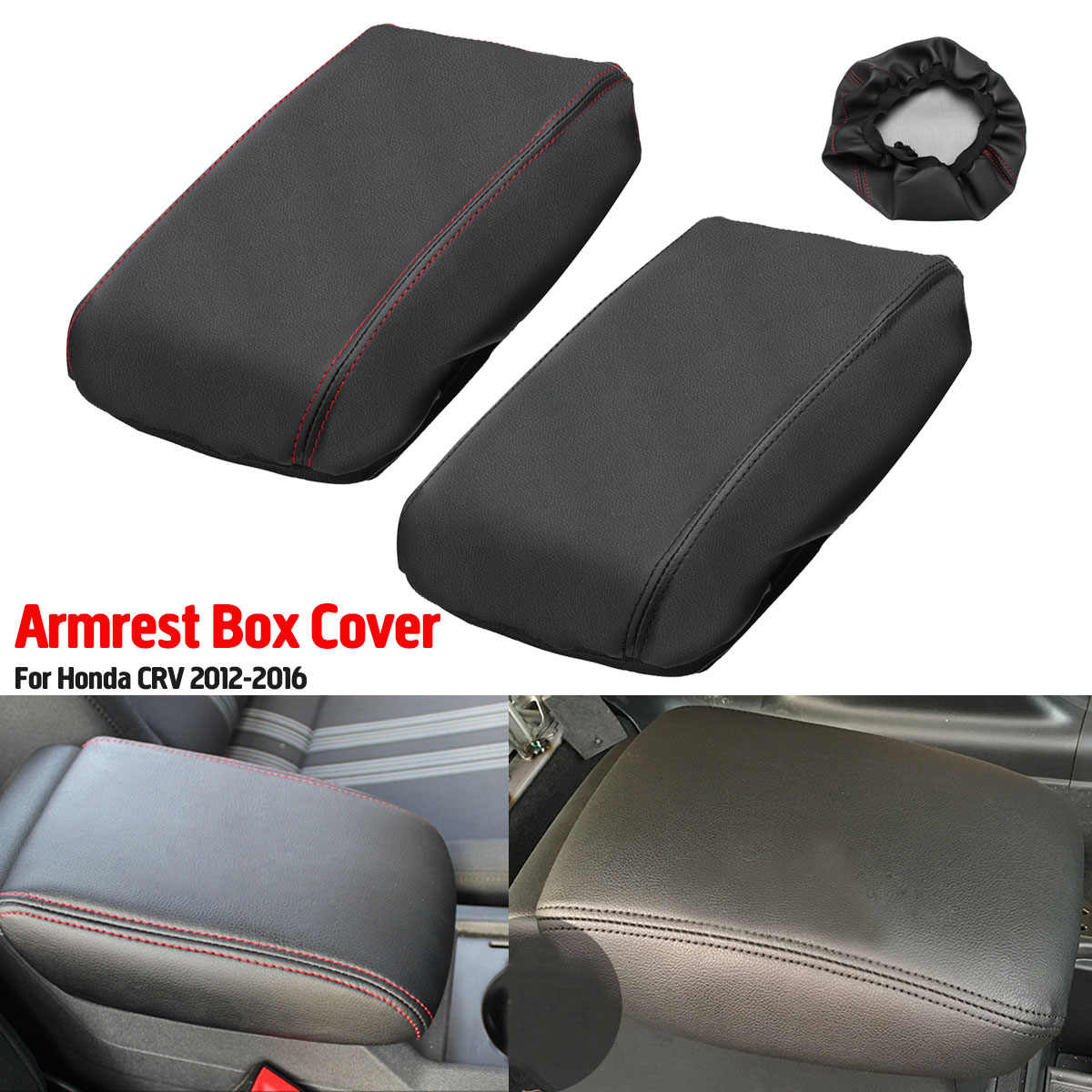Car Seat Armrest Box Cover Center Console Pad PU Leather Covers Protection for Honda CRV 2012 2013 2014 2015 2016