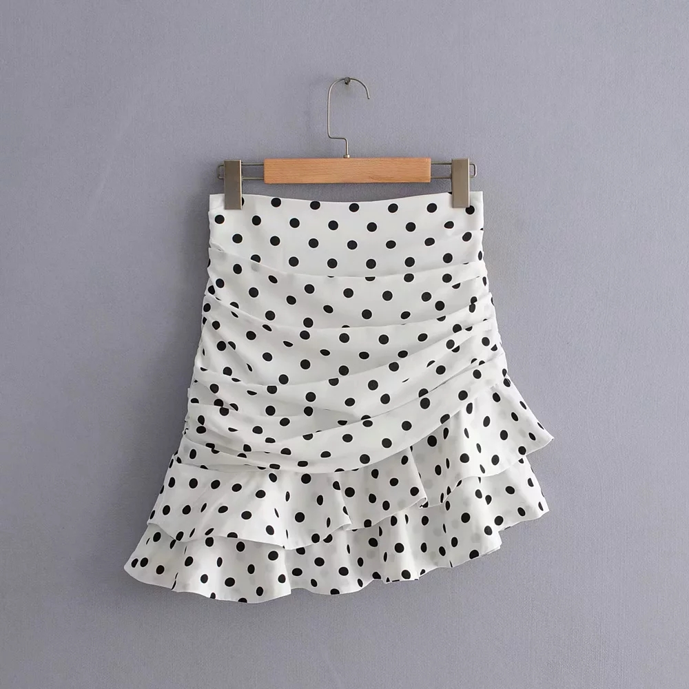 2019 Summer Korean Style Asymmetrical Ruffle Skirt Womens High Waist Skirt Kawaii Boho White Polka Dot Skirt Vintage Streetwear