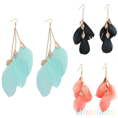 Women s Fashion Leaf Feather Handmade Long Drop Dangle Hook Eardrop Earrings 00X7