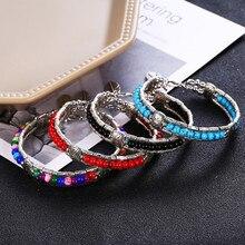 HOCOLE Vintage Leaf Feather Bead Bracelets For Women Fashion Jewelry Silver Color Pendant Multilayer Bracelet Bangle Female