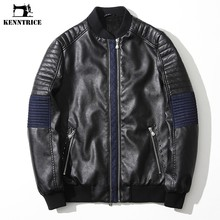 KENNTRICE Leather Jackets Men Jacket Mens Bomber Jackets Patchwork Denim Jeans Moto Faux Leather Coats Winter Coat Male College(China)