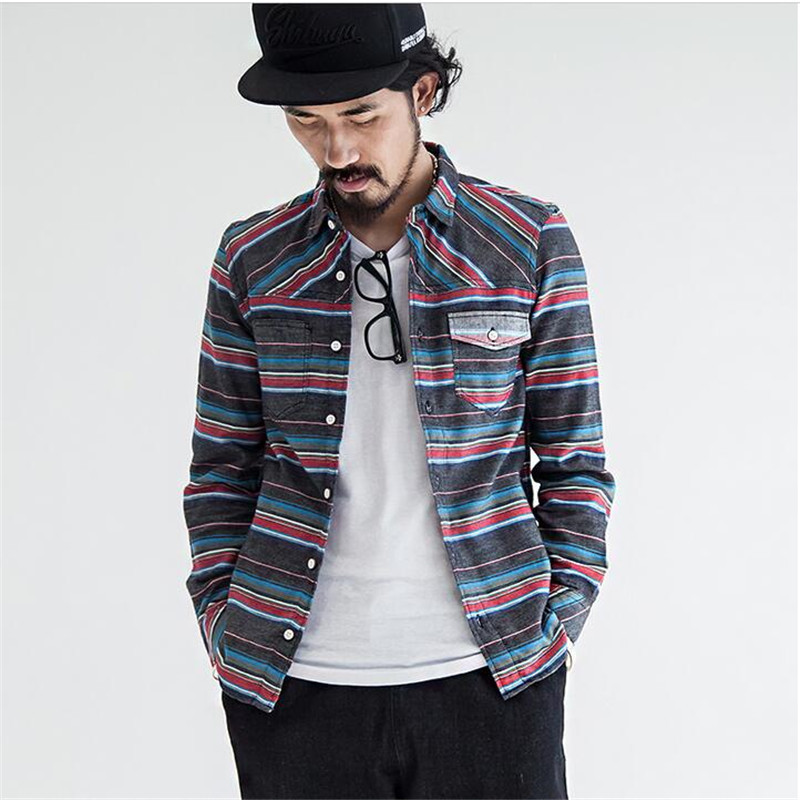 Men Shirt Long Sleeve Japanese Vintage Multicolor Stripe Casual Slim Fit Shirts Mens Fashion Brand Original Design Blouse A3300