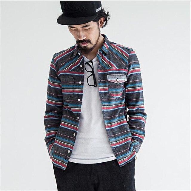 New 2017 Fashion Brand Strip Casual Men Shirt Japan Style Long Sleeve Slim Fit Shirt Men Casual