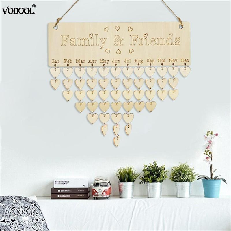 Home DIY Wooden Wall Hanging Calendar Board Birthday Family Birthday Calendar Sign Mark Reminder Planner Board Home Deco Gifts