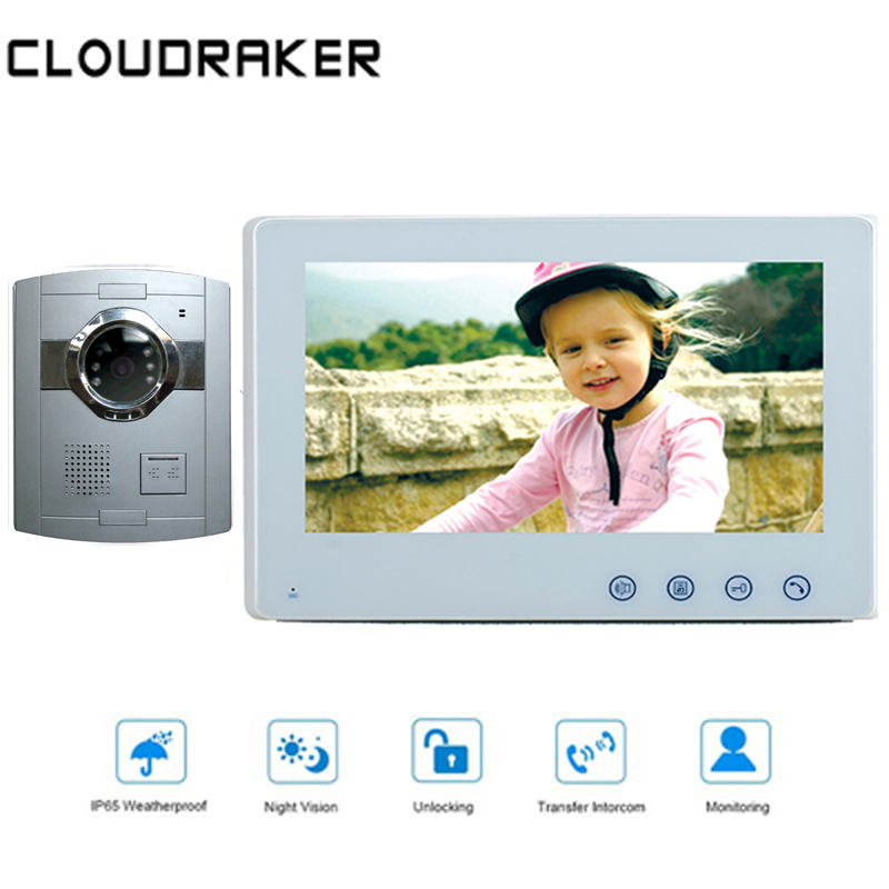 CLOUDRAKER 10'' Video Doorbell Intercom System 1x Monitor With 1x Silver Wired Door Phone Camera Video Intercom