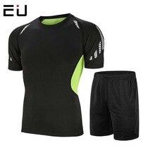 Мужской спортивный костюм для фитнеса, летние спортивные лосины, футболка с коротким рукавом+ быстросохнущие шорты для бега, тренировочный спортивный костюм из двух предметов