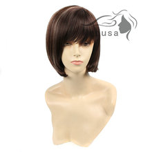 Medusa hair products: Classic Synthetic wigs for women Medium length straight Mix color bob styles Mono wig with bangs SW0034A