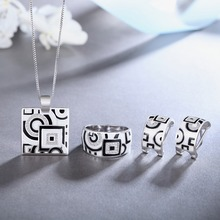 Hot Jewelry Sets earings fashion jewelry 2018 Enamel Necklace Ring 925 Sterling Silver Party Fashion for Women Accessories white