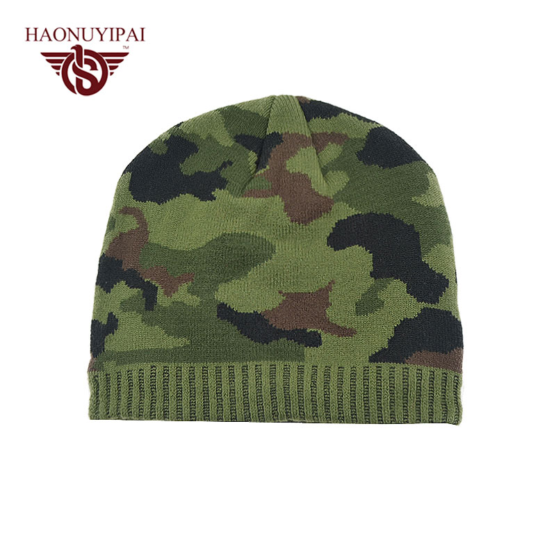 Winter Warm Camouflage Hats For Men Women Reversible Snowboard Skiing Skating Knitted Cap Beanies Skullies Hat Plus Velvet Cap 2016 fashin reversible skullies